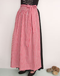 Cotton apron long, checked