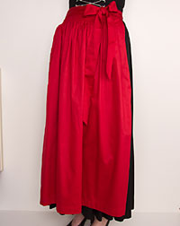 Cotton apron long, red
