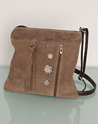 Suede satchel taupe