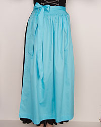 Cotton apron long, turquoise