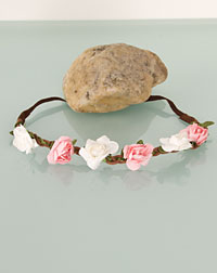 Flower ribbon white / pink