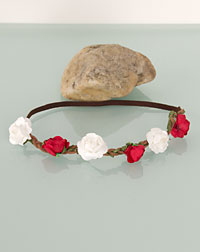 Flower ribbon white/red