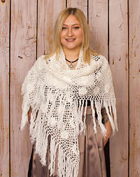 Poncho crocheted creme