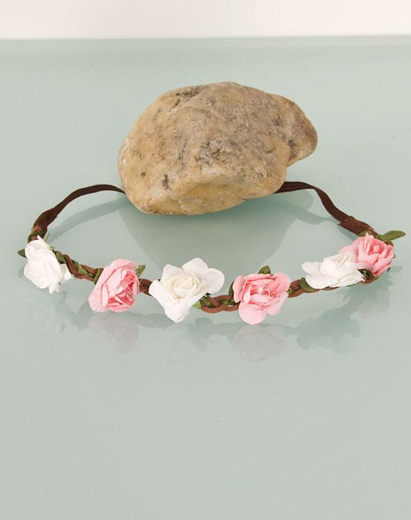Blumen-Haarband weiß/rosa