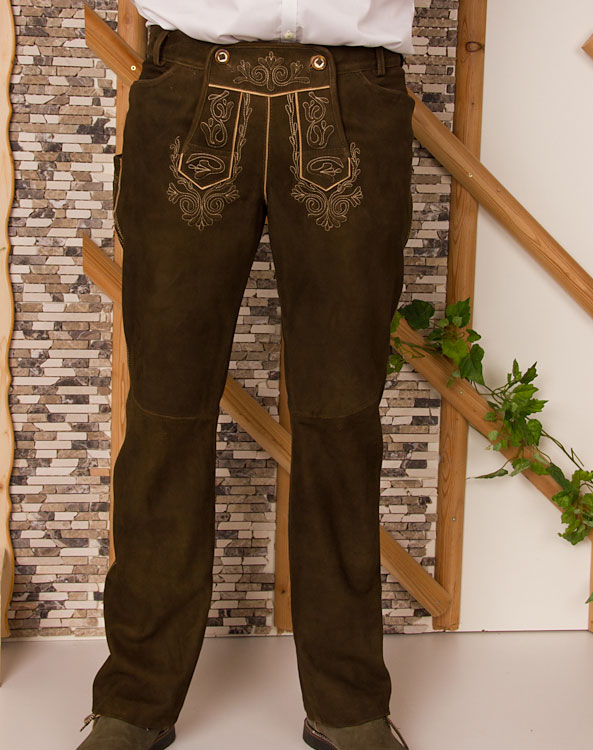 """Welzow"" long leather trousers - Bild vergrößern"
